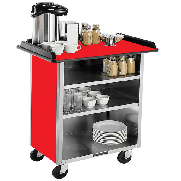 """Lakeside 678 Stainless Steel Beverage Service Cart with 3 Shelves and Red Laminate Finish - 40 3/4"""" x 24"""" x 38 1/4"""""""