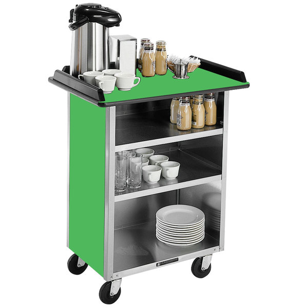 """Lakeside 681 Stainless Steel Beverage Service Cart with 3 Shelves and Green Laminate Finish - 58 3/8"""" x 24"""" x 38 1/4"""""""