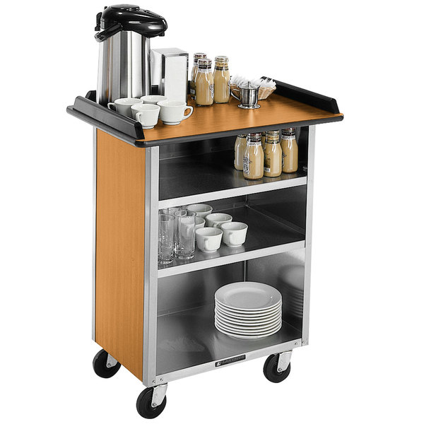 "Lakeside 636 Stainless Steel Beverage Service Cart with 3 Shelves and Light Maple Laminate Finish - 30 1/4"" x 21"" x 38 1/4"""