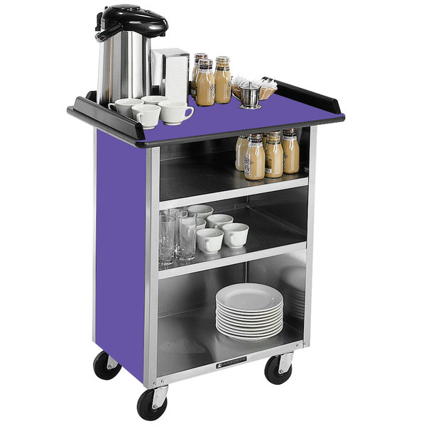 "Lakeside 636 Stainless Steel Beverage Service Cart with 3 Shelves and Purple Laminate Finish - 30 1/4"" x 21"" x 38 1/4"""