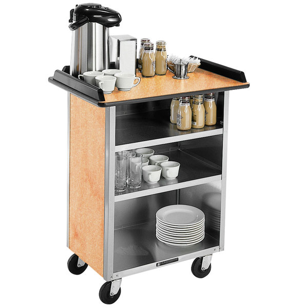 """Lakeside 681 Stainless Steel Beverage Service Cart with 3 Shelves and Hard Rock Maple Laminate Finish - 58 3/8"""" x 24"""" x 38 1/4"""""""