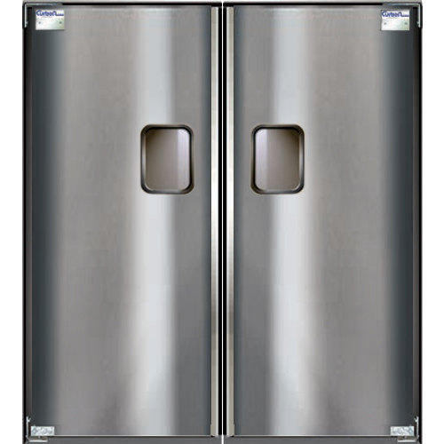 "Curtron Service-Pro Series 30 Double Stainless Steel Swinging Traffic Door - 54"" x 96"" Door Opening Main Image 1"