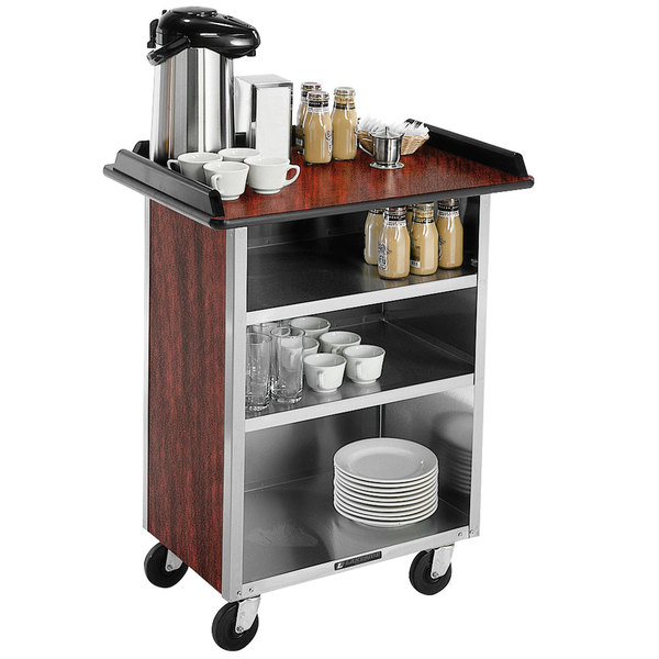 """Lakeside 681 Stainless Steel Beverage Service Cart with 3 Shelves and Red Maple Laminate Finish - 58 3/8"""" x 24"""" x 38 1/4"""""""
