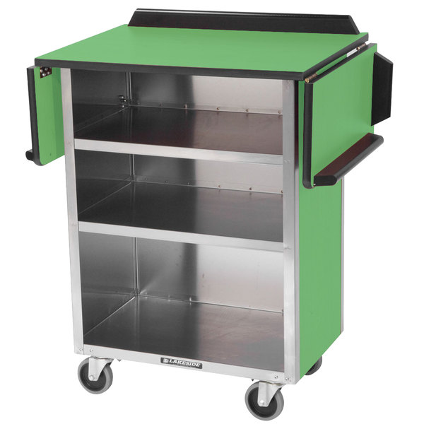 """Lakeside 672 Stainless Steel Drop-Leaf Beverage Service Cart with 3 Shelves and Green Laminate Finish - 33 1/8"""" x 21"""" x 38 1/4"""""""