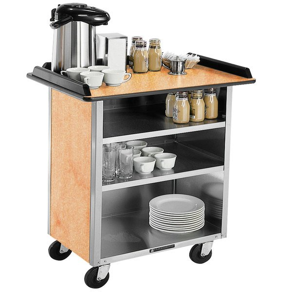 """Lakeside 678 Stainless Steel Beverage Service Cart with 3 Shelves and Hard Rock Maple Laminate Finish - 40 3/4"""" x 24"""" x 38 1/4"""""""