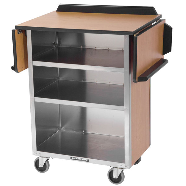 "Lakeside 672 Stainless Steel Drop-Leaf Beverage Service Cart with 3 Shelves and Victorian Cherry Laminate Finish - 33 1/8"" x 21"" x 38 1/4"""