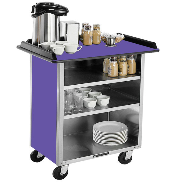 "Lakeside 678 Stainless Steel Beverage Service Cart with 3 Shelves and Purple Laminate Finish - 40 3/4"" x 24"" x 38 1/4"""