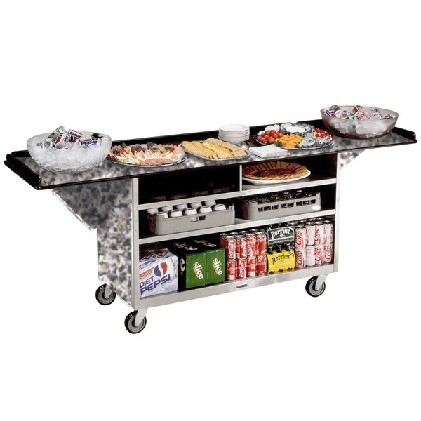 """Lakeside 676 Stainless Steel Drop-Leaf Beverage Service Cart with 3 Shelves and Gray Sand Laminate Finish - 61 3/4"""" x 24"""" x 38 1/4"""""""