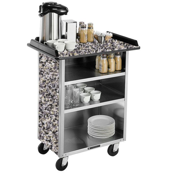 "Lakeside 681 Stainless Steel Beverage Service Cart with 3 Shelves and Gray Sand Laminate Finish - 58 3/8"" x 24"" x 38 1/4"""