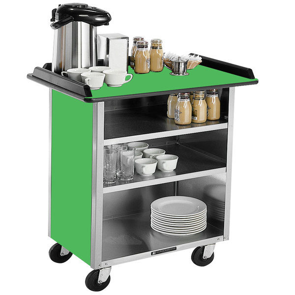 """Lakeside 678 Stainless Steel Beverage Service Cart with 3 Shelves and Green Laminate Finish - 40 3/4"""" x 24"""" x 38 1/4"""""""