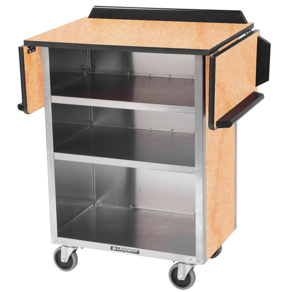 "Lakeside 672 Stainless Steel Drop-Leaf Beverage Service Cart with 3 Shelves and Hard Rock Maple Laminate Finish - 33 1/8"" x 21"" x 38 1/4"""