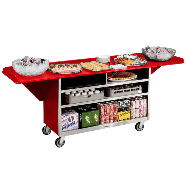 """Lakeside 676RD Stainless Steel Drop-Leaf Beverage Service Cart with 3 Shelves and Red Laminate Finish - 61 3/4"""" x 24"""" x 38 1/4"""""""