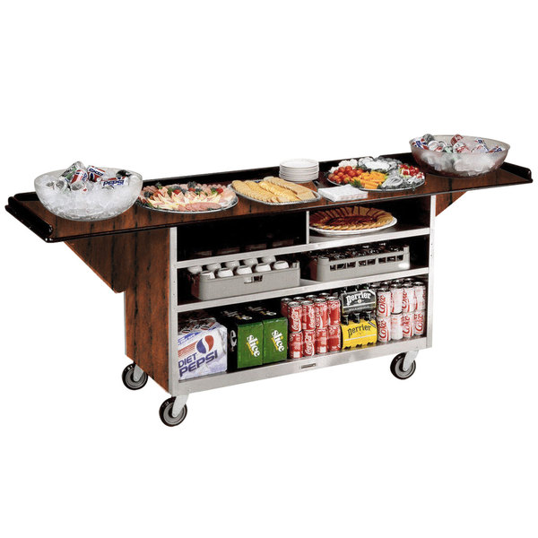 """Lakeside 676 Stainless Steel Drop-Leaf Beverage Service Cart with 3 Shelves and Victorian Cherry Laminate Finish - 61 3/4"""" x 24"""" x 38 1/4"""""""