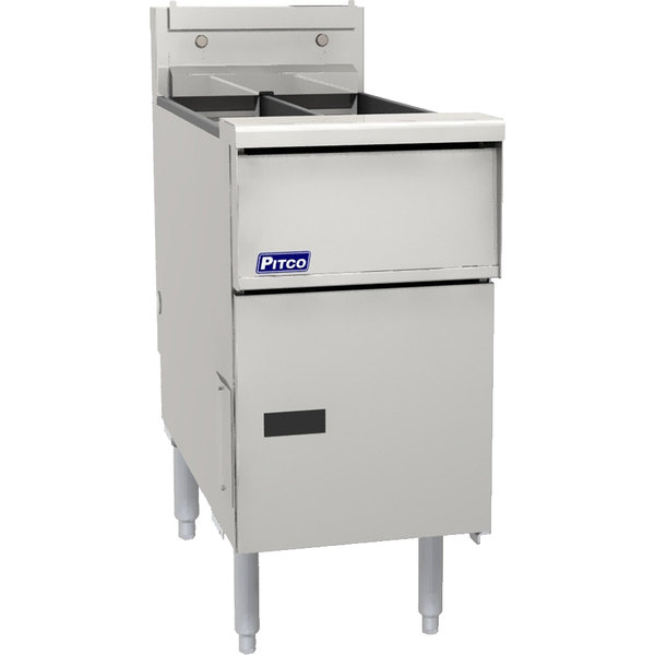 Pitco SG14TSSTC Natural Gas 20-25 lb. Split PotFloor Fryer with Solid State Thermostatic Controls - 100,000 BTU Main Image 1