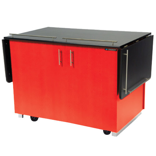 "Lakeside 6850 Mobile Breakout Dining Station with Red Laminate Finish - 83 1/2"" x 30 1/2"""
