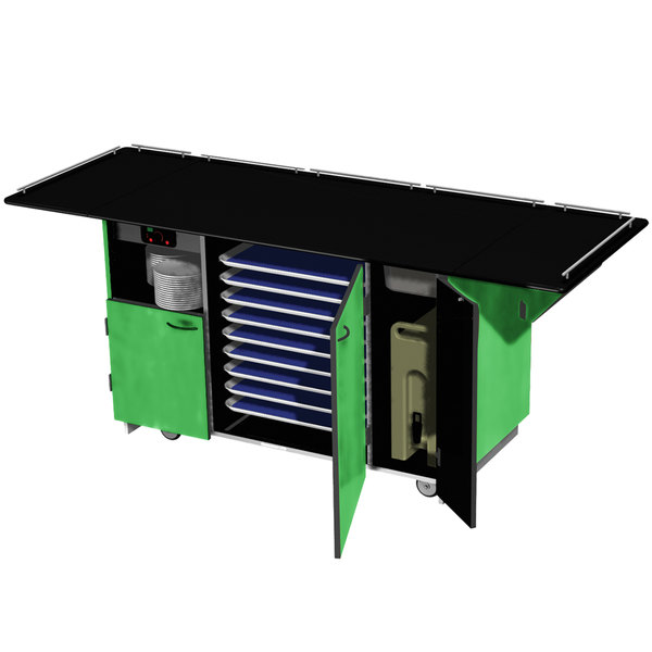 """Lakeside 6855 Mobile Breakout Dining Station with Green Laminate Finish - 95"""" x 30 1/2"""""""