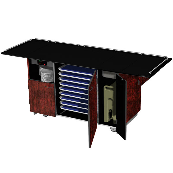 """Lakeside 6855 Mobile Breakout Dining Station with Red Maple Laminate Finish - 95"""" x 30 1/2"""""""