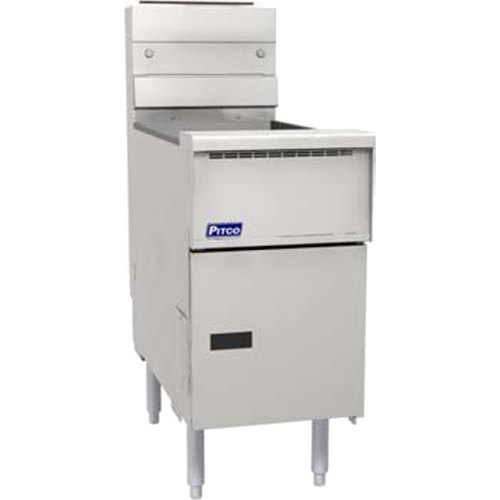 Pitco® SG14SSSTC Natural Gas 40-50 lb.Floor Fryer with Solid State Thermostatic Controls - 110,000 BTU