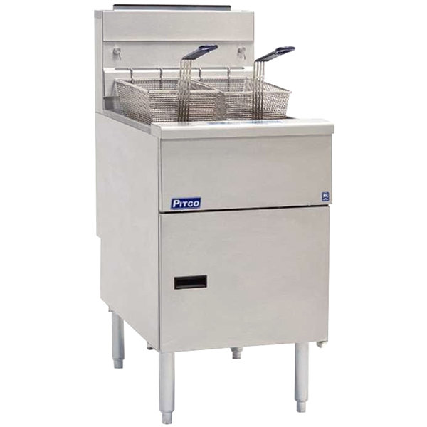 Pitco® SG18SSSTC Liquid Propane 70-90 lb.Floor Fryer with Solid State Thermostatic Controls - 140,000 BTU