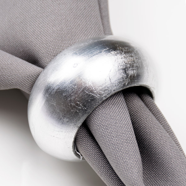 "Silver 2 3/8"" Round Acrylic Napkin Ring"