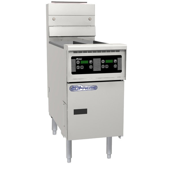 Pitco SE14TR-D 40-50 lb. Split Pot Solstice Electric Floor Fryer with Digital Controls - 208V, 1 Phase, 22kW
