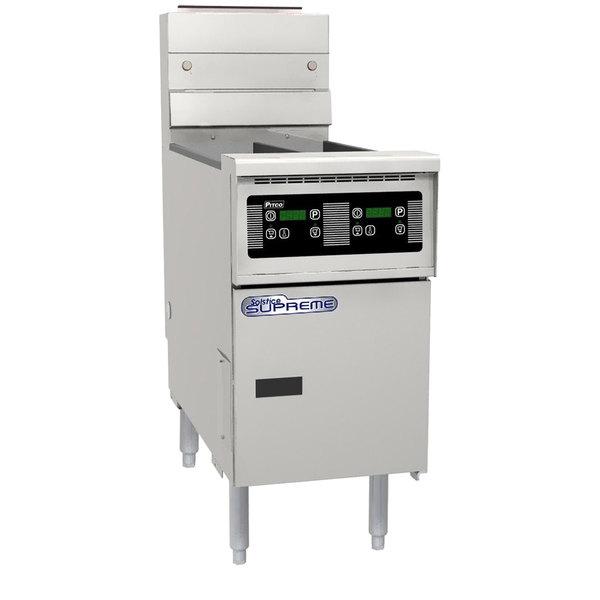 Pitco SE14TR-D 40-50 lb. Split Pot Solstice Electric Floor Fryer with Digital Controls - 240V, 1 Phase, 22kW