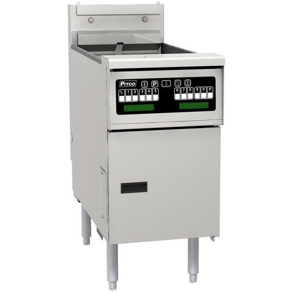 "Pitco SE14TR-VS7 40-50 lb. Split Pot Solstice Electric Floor Fryer with 7"" Touchscreen Controls - 208V, 1 Phase, 22kW"