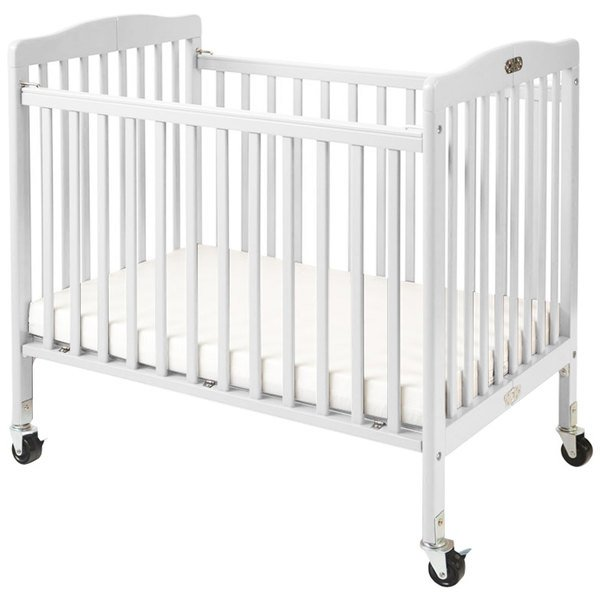 "L.A. Baby CW-883A The Little Wood Crib 24"" x 38"" White Mini / Portable Folding Wood Crib with 3"" Vinyl Covered Mattress Main Image 1"