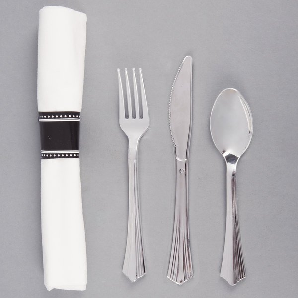 Add style and convenience to any table setting with this Silver Visions 17  x 17  pre-rolled cutlery set! & Silver Visions 17