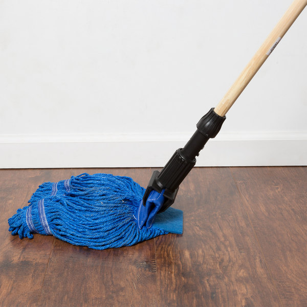 "Small 15 oz. Microfiber String Mop with Scrubber and 5"" Band - Blue"