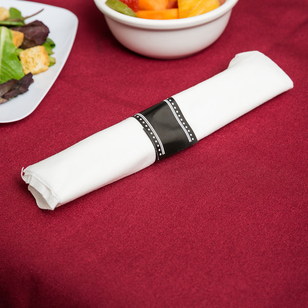 """Visions 17"""" x 17"""" White Pre-Rolled Linen-Feel Napkin and Clear Heavy Weight Plastic Cutlery Set - 25/Pack Main Image 3"""
