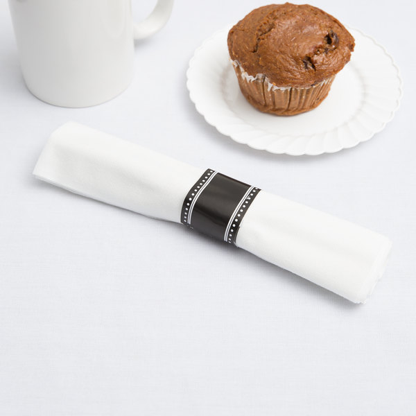 "Visions 17"" x 17"" White Pre-Rolled Linen-Feel Napkin and Black Heavy Weight Plastic Cutlery Set - 100/Case"
