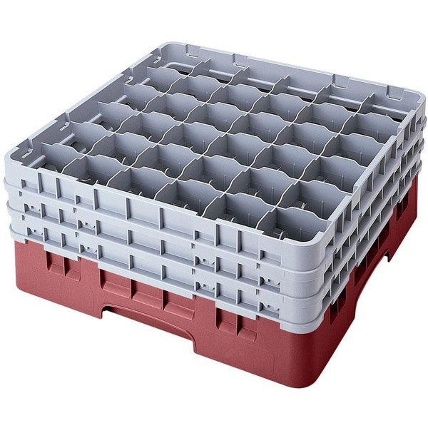 """Cambro 36S318163 Red Camrack Customizable 36 Compartment 3 5/8"""" Glass Rack"""