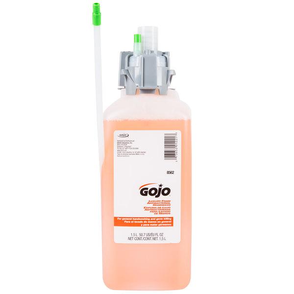 GOJO® 8562-02 CX Series Luxury 1500 mL Orange Blossom Foaming Antibacterial Hand Soap - 2/Case