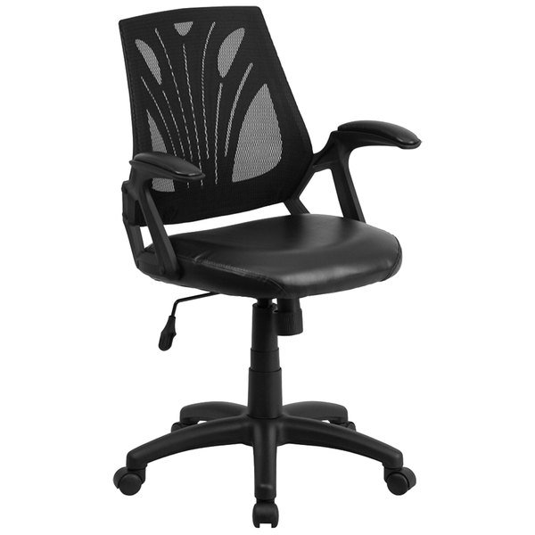 Flash Furniture GO-WY-82-LEA-GG Mid-Back Black Mesh and Leather Ergonomic Office Chair with Padded Arms Main Image 1