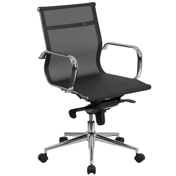 Flash Furniture BT-2768M-GG Mid-Back Black Mesh Executive Office Chair with Chrome Arms and Tilt Adjustment Main Image 1