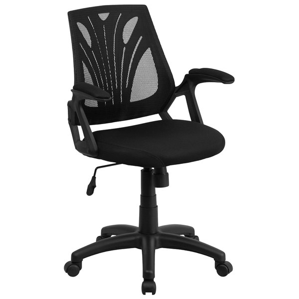 Flash Furniture GO-WY-82-GG Mid-Back Black Mesh Ergonomic Office Chair with Padded Arms Main Image 1