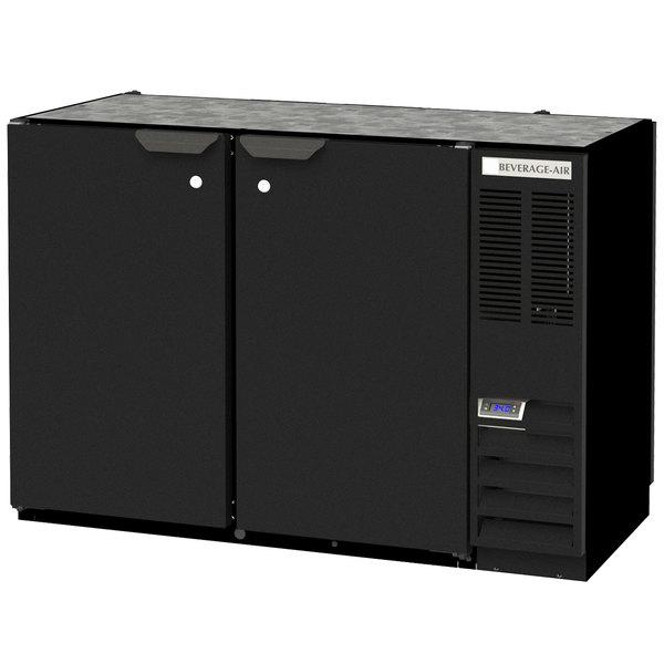 "Beverage-Air BB48HC-1-PT-B 48"" Black Solid Door Pass-Through Back Bar Refrigerator"