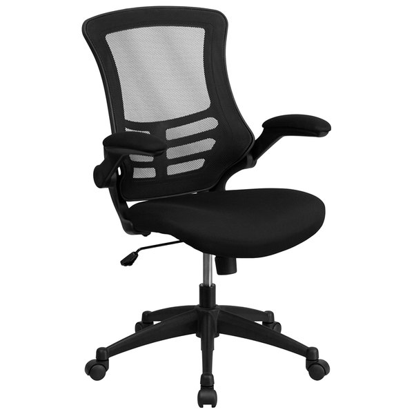 Flash Furniture BL-X-5M-BK-GG Mid-Back Black Mesh Office Chair with Flip-Up Arms and Nylon Base Main Image 1