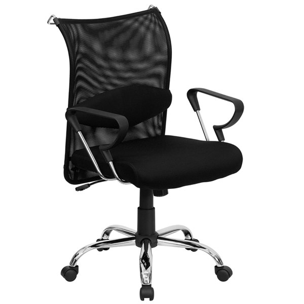 Flash Furniture BT-2905-GG Mid-Back Black Mesh Office Chair with Padded Seat and Aluminum Base Main Image 1