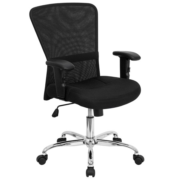 Flash Furniture GO-5307B-GG Mid-Back Black Mesh Office / Computer Chair with Adjustable T-Arms and Chrome Base Main Image 1