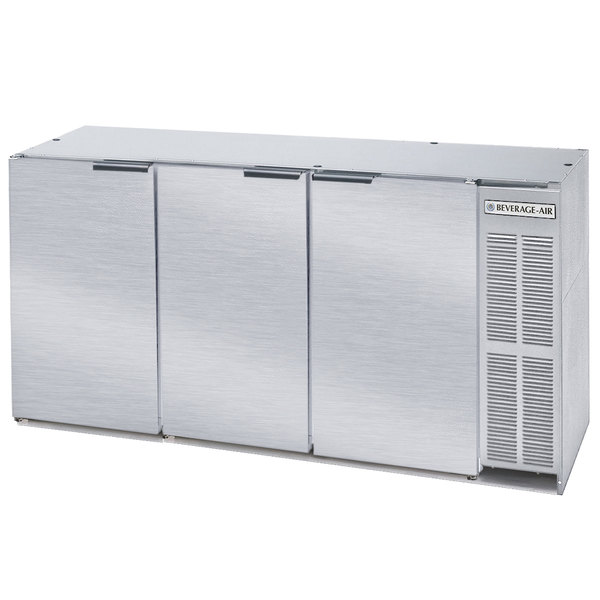 """Beverage-Air BB72Y-1-S-27-PT 72"""" Stainless Steel Solid Door Pass-Through Back Bar Refrigerator with 2"""" Stainless Steel Top"""