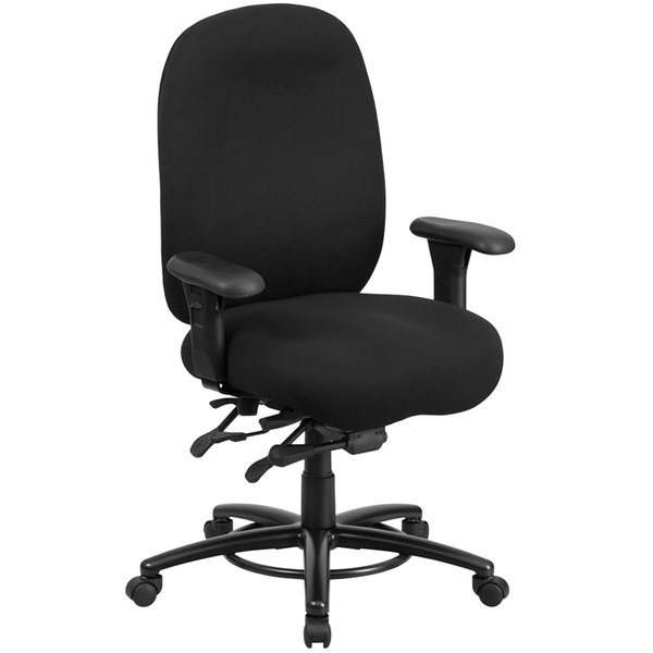 Flash Furniture LQ-1-BK-GG High-Back Black Fabric Intensive-Use Multi-Functional Swivel Office Chair with Ratchet Back and Adjustable Pivot Arms Main Image 1