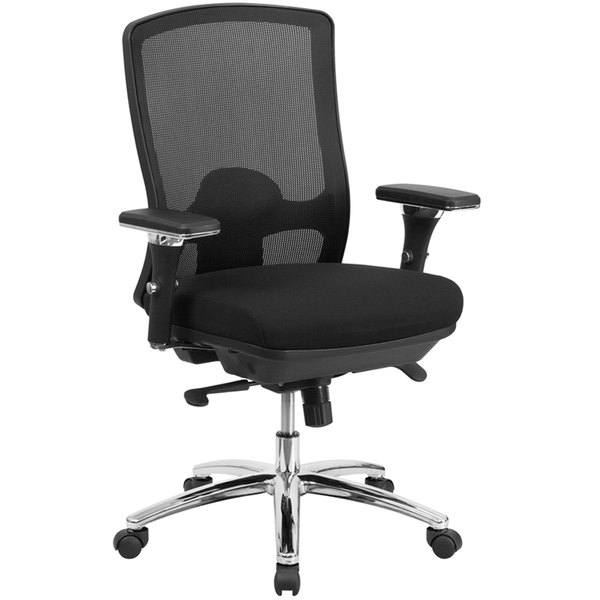 Flash Furniture LQ-2-BK-GG Mid-Back Black Mesh Intensive-Use Multi-Functional Swivel Office Chair with Ventilated Back and 3-D Adjustable Pivot Arms Main Image 1