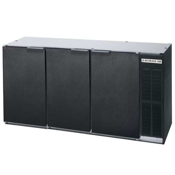"""Beverage-Air BB72Y-1-B-27-PT 72"""" Black Solid Door Pass-Through Back Bar Refrigerator with 2"""" Stainless Steel Top"""