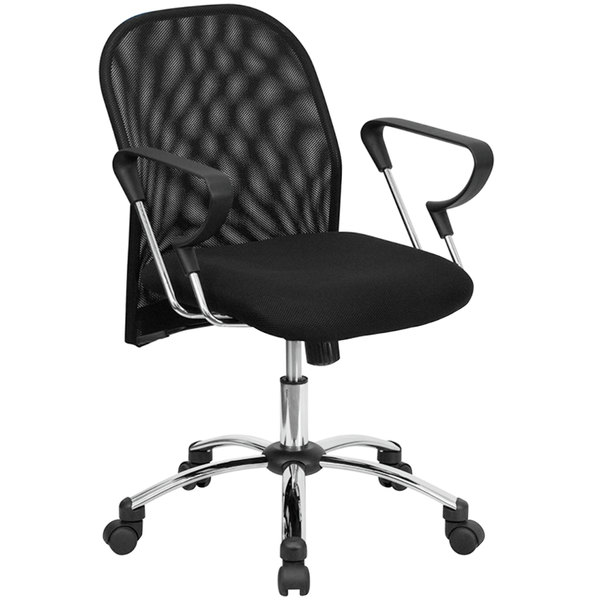 flash furniture bt 215 gg mid back black mesh office chair with
