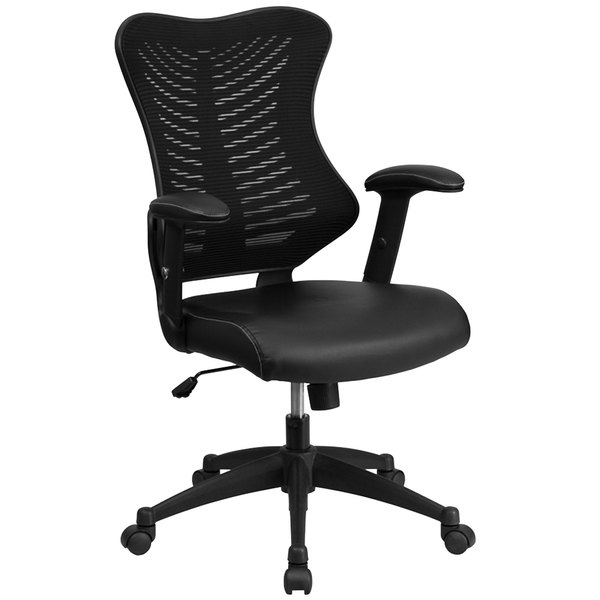 Flash Furniture BL-ZP-806-BK-LEA-GG High-Back Black Mesh Executive Office Chair with Leather Seat and Nylon Base Main Image 1