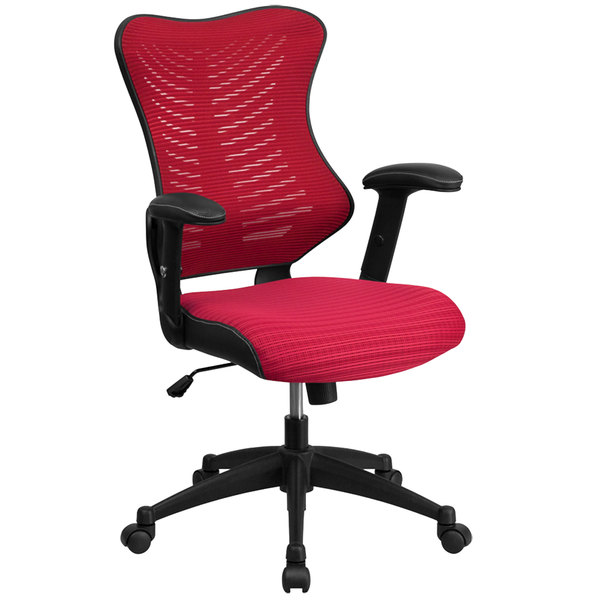 Flash Furniture BL-ZP-806-BY-GG High-Back Burgundy Mesh Executive Office Chair with Padded Seat and Nylon Base Main Image 1