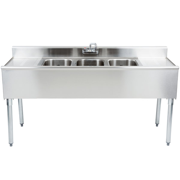 "Eagle Group B5C-18 3 Bowl Under Bar Sink With Two 13"" Drainboards and Splash Mount Faucet 60"" Long"