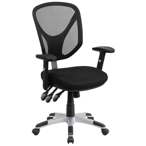 Flash Furniture GO-WY-89-GG Mid-Back Black Mesh Ergonomic Office Chair with Triple Paddle Control and Height-Adjustable Arms and Back Main Image 1